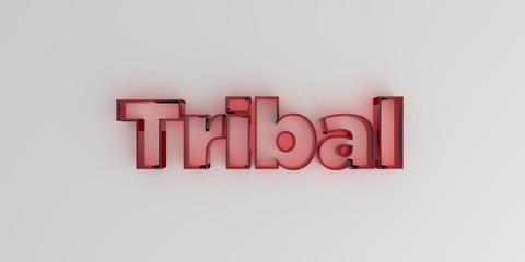 Tribal - Red glass text on white background - 3D rendered royalty free stock image.