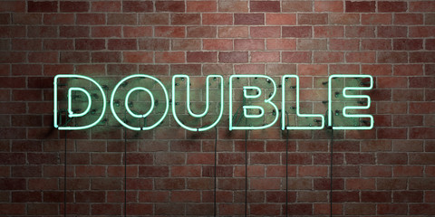 DOUBLE - fluorescent Neon tube Sign on brickwork - Front view - 3D rendered royalty free stock picture. Can be used for online banner ads and direct mailers..