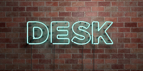 DESK - fluorescent Neon tube Sign on brickwork - Front view - 3D rendered royalty free stock picture. Can be used for online banner ads and direct mailers..
