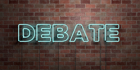 DEBATE - fluorescent Neon tube Sign on brickwork - Front view - 3D rendered royalty free stock picture. Can be used for online banner ads and direct mailers..