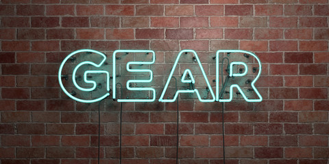 GEAR - fluorescent Neon tube Sign on brickwork - Front view - 3D rendered royalty free stock picture. Can be used for online banner ads and direct mailers..