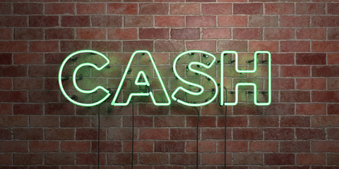 CASH - fluorescent Neon tube Sign on brickwork - Front view - 3D rendered royalty free stock picture. Can be used for online banner ads and direct mailers..