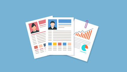 Vector - Vector illustration curriculum vitae. CV on blue background. Job interview concept with cv resume