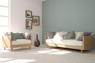 White modern room with sofa. Scandinavian interior design