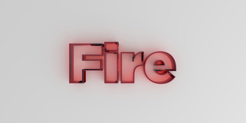 Fire - Red glass text on white background - 3D rendered royalty free stock image.