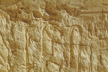 Old drawings cuted in ancient walls in Egypt. Horizontal color photo.
