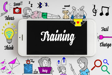 """""""Training"""" words on smartphone with doodle and social media icon - internet, social, marketing and business concept"""
