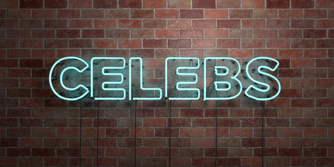 CELEBS - fluorescent Neon tube Sign on brickwork - Front view - 3D rendered royalty free stock picture. Can be used for online banner ads and direct mailers..
