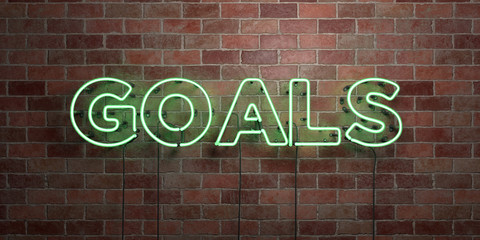 GOALS - fluorescent Neon tube Sign on brickwork - Front view - 3D rendered royalty free stock picture. Can be used for online banner ads and direct mailers..