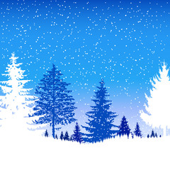 Landscape. Eco banner. Winter. It is snowing.