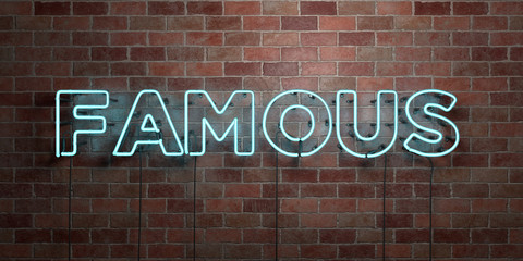 FAMOUS - fluorescent Neon tube Sign on brickwork - Front view - 3D rendered royalty free stock picture. Can be used for online banner ads and direct mailers.. Wall mural