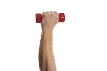 Man's  hand holding dumbbell isolated on white background. Close up, concept of healthy lifestyle.
