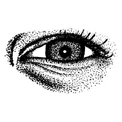 the human eye is drawn dots