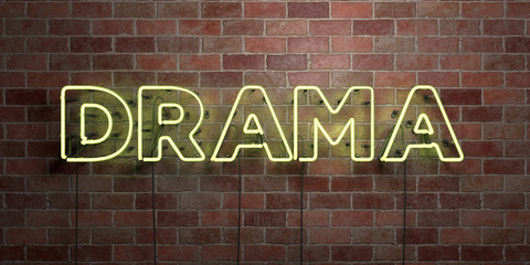 DRAMA - fluorescent Neon tube Sign on brickwork - Front view - 3D rendered royalty free stock picture. Can be used for online banner ads and direct mailers..