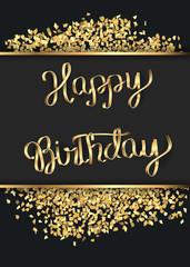 Birthday card with a gold inscription.