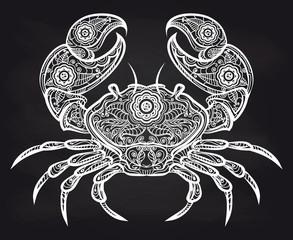 Vintage ornate crab on blackboard. Vector white doodle crab design