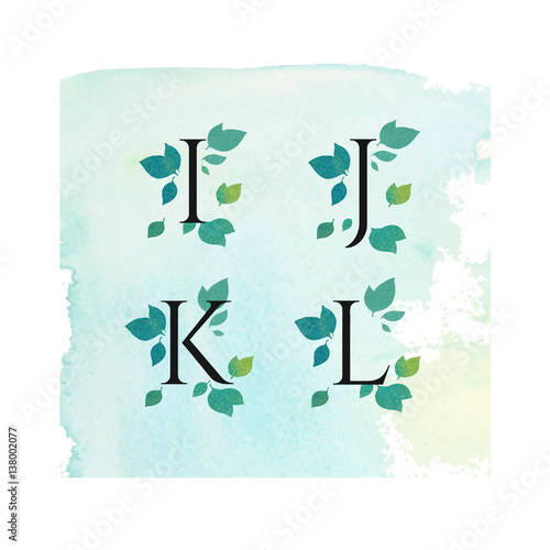Vector Minimal Clean Watercolor Serif Font with Leafs, Green Flowers
