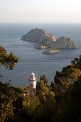 Gelidonya lighthouse and Bes Adalar (Turkish meaning five islands) in Kumluca, Antalya