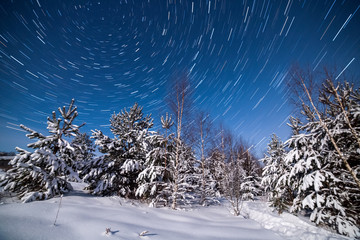 Startrails north pole tracks in the sky