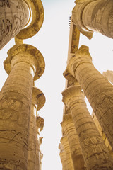 Ancient Karnak Temple in Luxor, Egypt. Photo shot in 2017. Vertical color image.