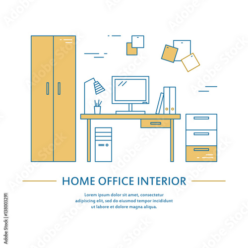 Vector Office Interior Design Brochure Cover In Line Style Flyer Home