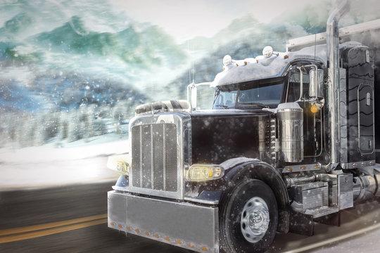 Truck in winter landscape