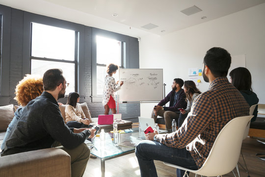 Businesswoman explaining colleagues over whiteboard in office meeting