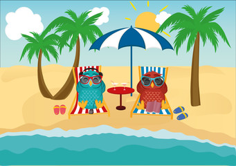 Cute two owls with sunglasses on vacation lying down on the beach by the sea and relaxing