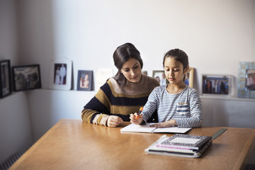 Mother assisting daughter for studying while sitting at table
