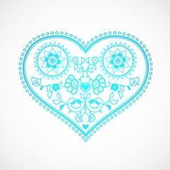 Heart shape ornament illustration for Valentine's Day. Greeting card template.