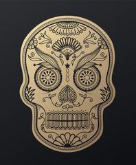 Sugar Skull day of the dead golden illustration.