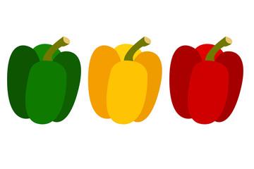 peperone verde giallo e rosso vettoriale colore