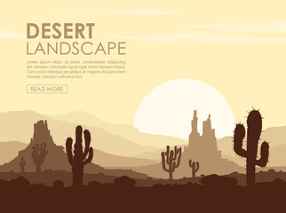 Sunset in stone desert with cactuses. Vector illustration.