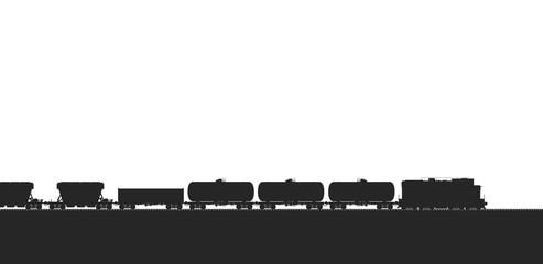 Train with freight wagons. Vector illustration.