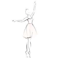 Ballerina girl silhouette isolated on white background