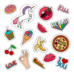 Funny food stickers set