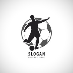 Soccer  Football player Logo. Football Vector illustration. Sport Emblem.