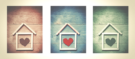House made of chalk with red heart in it on wooden background, triptych. Sweet home concept. Mortgage