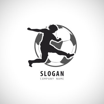 Soccer  Football player Logo. Sport Emblem. Football Vector illustration.
