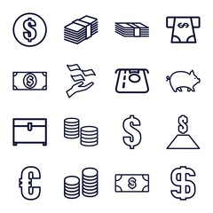 Set of 16 currency outline icons