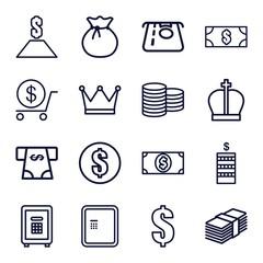 Set of 16 wealth outline icons