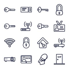 Set of 16 access outline icons
