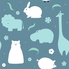 Vector pattern of flat animals seamless background.