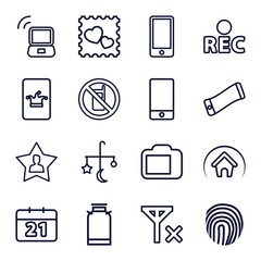 Set of 16 mobile outline icons