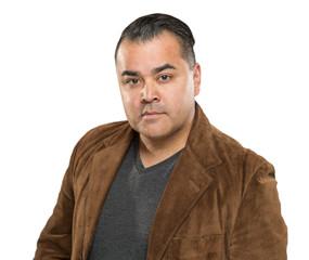 Handsome Young Hispanic Male Headshot Portrait Against White Background.