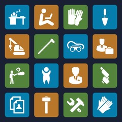 Set of 16 worker filled icons