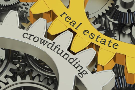 real estate crowdfunding concept on the gearwheels, 3D rendering