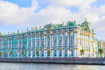 Hermitage or Winter Palace on the embankment of Neva river in St Petersburg,Russia