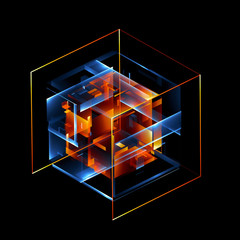 Abstract modern technology. Technological scheme. Neural network. Web blocks. Construction. Cluster. Techno style objects. Hardware quantum form. Smart build. Intersect composition. Glossy glass