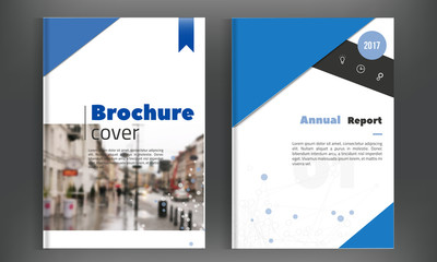 Blue brochure geometric background for Poster, Flyer design Layout vector template in A4 size with city